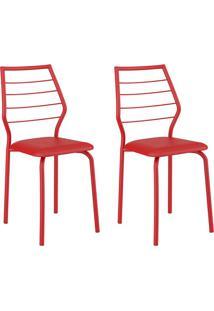 Conjunto 2 Cadeiras 1716 Casual Napa Vermelho Real