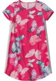 Vestido Pink Borboletas Com Aplique