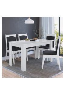 Conjunto Mesa Fica Com 4 Cadeiras Mdf Branco E Preto Lilies