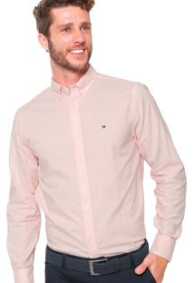 Camisa Tommy Hilfiger Masculina Custon Fit Oxford Rosa