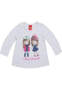 Camiseta Kyly Menina Estampa Frontal Cinza
