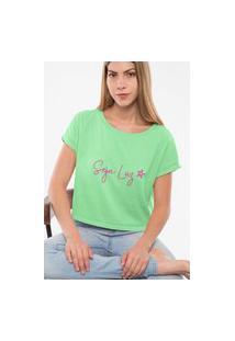 Camiseta Feminina Cropped Seja Luz