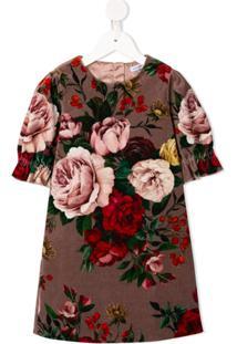 Dolce & Gabbana Kids Vestido Com Estampa Floral - Roxo