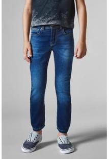 Calça Jeans Pf Estique-Se Cacu Reserva Mini Infantil Masculina - Masculino-Azul Petróleo