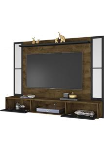 Painel Para Tv Até 60 Polegadas Com Espelho 2 Portas Ametista Móveis Bechara Madeira Rústica/Preto Fosco