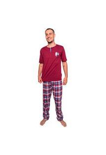 Pijama Bella Fiore Modas Masculino Calça E Manga Curta Vinho