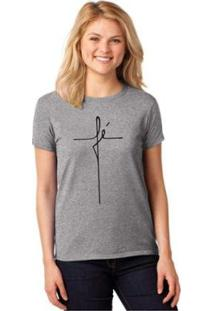 Camiseta Fé T-Shirt Cristã Baby Look Religiosa Feminina - Feminino-Cinza