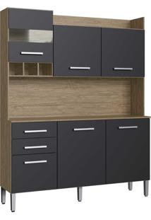 Armario Kit Cozinha 6 Portas E 2 Gaveta Wood/Preto Decibal Moveis