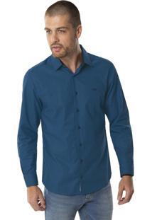 Camisa Slim Fit Algodão Egípcio Pai Azul