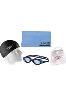 2eb0a7b76 Kit Natação Speedo Com Óculos Horizon Azul + Toalha + Protetor + Touca