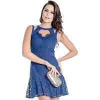 32ab2f25a Vestido Curto Renda Guipir Colcci - Feminino-Azul