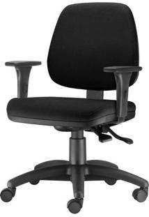 Cadeira Job Com Bracos Assento Crepe Preto Base Nylon Arcada - 54579 - Sun House