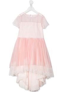 Aletta Vestido Assimétrico Com Tule - Rosa