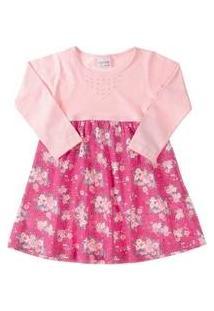 Vestido Bebê Strass E Flores Salmão Fakini