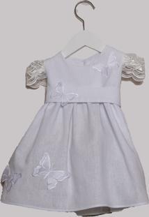 Vestido Infantil Bless My Baby Batizado Off White