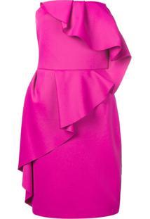 Lanvin Vestido Com Babados - Rosa