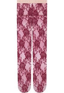 Gucci Meia-Calça Com Renda Floral - Vermelho