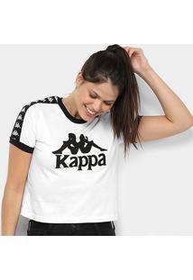 Camiseta Kappa Cropped Piaza Feminina - Feminino-Branco
