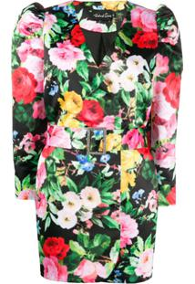 Richard Quinn V-Neck Buttoned Floral Print Jacket - Preto