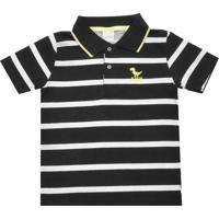 12779ec3f5dcf Camisa Polo Alakazoo Menino Listrado Preta