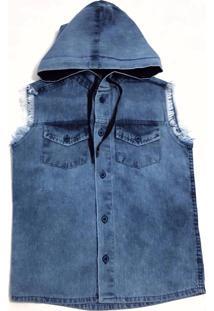 Colete Com Capuz Jeans