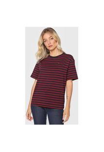 Camiseta Tommy Hilfiger Relaxed Vermelha/Azul-Marinho