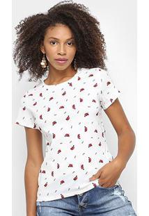 Camiseta Sofia Fashion Básica Coração Feminina - Feminino-Branco