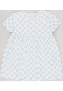 Body Vestido Infantil Estampado Floral Manga Curta Off White