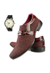 Sapato Social Tricê Neway Masculino Vermelho + Relógio