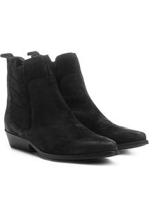 Bota Couro Chelsea Shoestock Bico Fino Elásticos Transpassados Feminina - Feminino-Preto