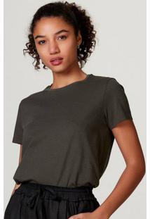 Camiseta Básica Feminina Manga Curta De Algodão Pima