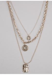 Colar Feminino Triplo Com Medalhas Dourado