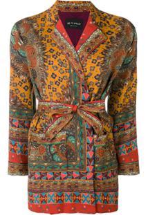 Etro Jaqueta Estilo Kimono Transpassada - Marrom