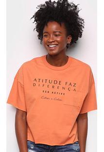 Camiseta Colcci Diferença Eco Active Feminina - Feminino-Laranja