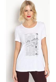 Camiseta Com Inscriã§Ãµes- Branca & Preta- Forumforum
