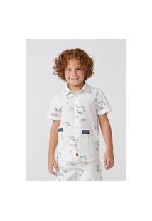 Camisa Hering Kids Infantil Manga Curta Em Tricoline Off White