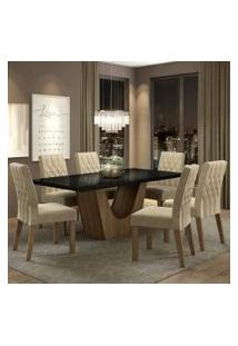 Conjunto Sala De Jantar Madesa Jaqueline Mesa Tampo De Vidro Com 6 Cadeiras Rustic/Preto/Imperial