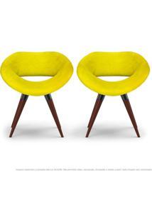 Kit 02 Poltronas Beijo Amarela Cadeiras Decorativas Com Base Fixa De Madeira
