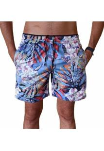 Bermuda Short Moda Praia Relaxado Estampa Azul Folhas - Azul - Masculino - Poliã©Ster - Dafiti