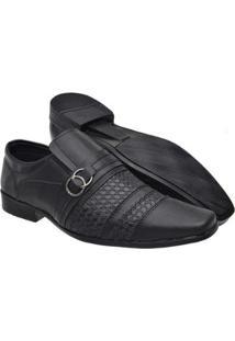 Sapato Social Masculino Elástico Fivela Conforto Moderno - Masculino-Preto
