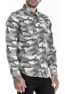 Camisa Offert Camuflado Urbano Premium Slim Fit Masculina - Masculino-Cinza