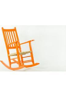 Cadeira De Balanço Palha Pestre Laranja - 64X112X110 Cm