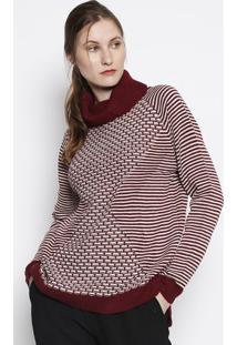 Blusão Em Tricô- Bordô & Branco- Heringhering
