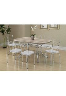 Conjunto Mesa 1507 Nogueira Cromada Com 6 Cadeiras 1700 Fantasia Branco Carraro