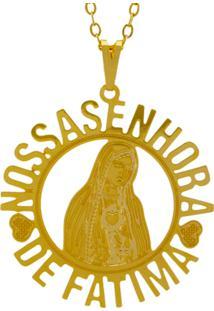 Gargantilha Horus Import Nossa Senhora De Fátima Banhada Ouro Amarelo 18 K - 1060130