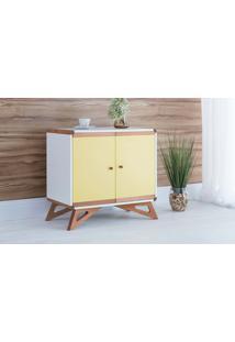 Cômoda Pequena 2 Portas Presley Branco E Amarelo - 72X40X68,5 Cm