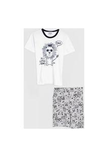 Pijama Rovitex Curto Infantil Leão Branco/Cinza