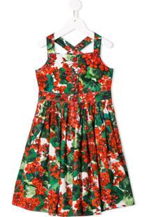 Dolce & Gabbana Kids Vestido Salopete Com Estampa Floral - Vermelho