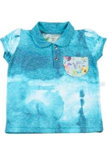 Blusa Infantil Em Malha Reciclato Manchada Com Gol - Feminino-Azul Turquesa