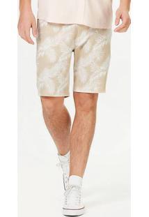 Bermuda Masculina Slim Em Tecido De Linho Estampada